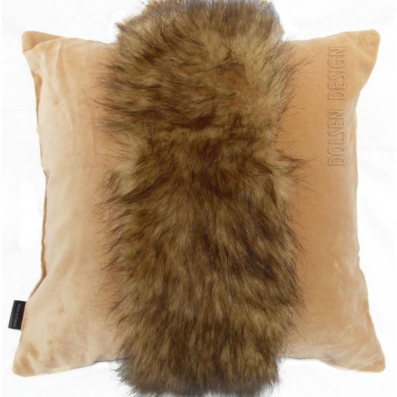 mink faux fur pillowcase brown  cushion cover beige