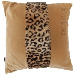 kussensloop van luipaard imitatiebont bruin kussenovertrek