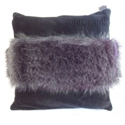 ostrich feathers imitation pillowcase anthracite  cushion cover
