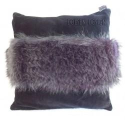 poszewka na poduszkę z imitacji piór strusia antracytowa śliwkowa