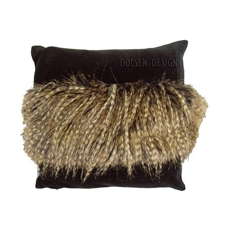 Fasan Kunstfedern-Kissenbezug braun schwarz