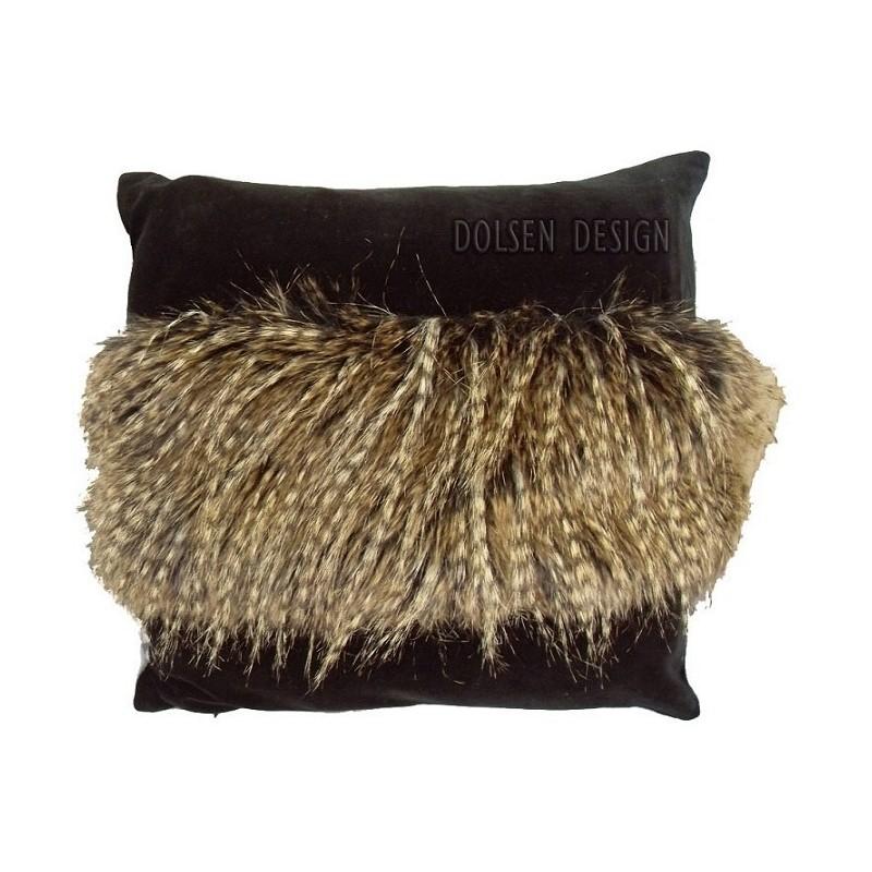 poszewka z imitacji piór bażanta brązowo czarna