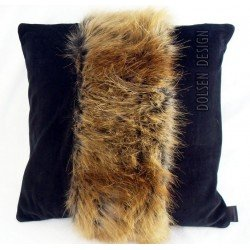 kussensloop van rode vos imitatiebont rood zwart kussenhoes nepbont