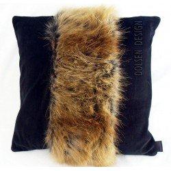 poszewka na poduszkę z imitacji futra rudego lisa rudo czarna futrzana