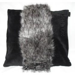 kussensloop van zilvervos imitatiebont grijs zwart