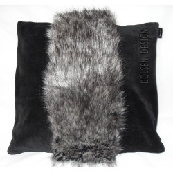 silver fox faux fur pillowcase grey black cushion cover