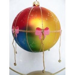 Handgemaakte grote glazen kerstballen kerstversiering van glas - Luchtballon blauw/rood/goud