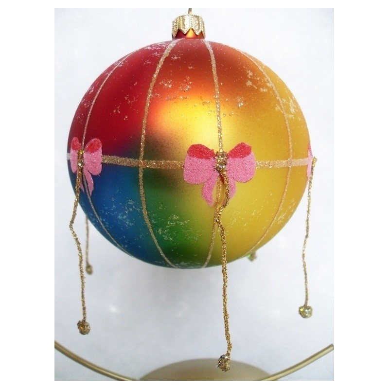 air balloon glass handmade Christmas bauble decoration tree ornament gold/red/blue