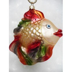 fish glass handmade bauble Christmas ornament decoration fishing gold/red/green