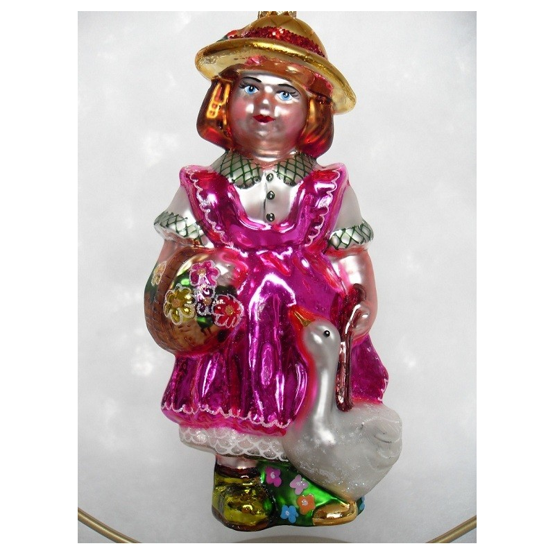 luxury pink girl glass handmade Christmas baubles decorations