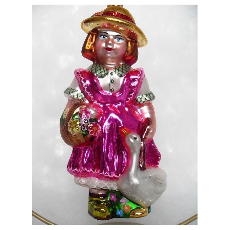 rosa Mädchen - handgefertigte Weihnachtsschmuck aus Glas Weihnachtskugel