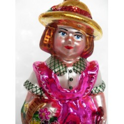 pink girl glass handmade Christmas bauble decoration tree ornament