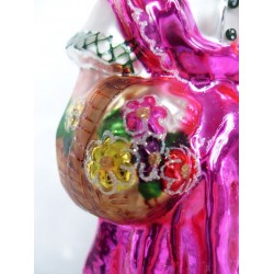 pink girl glass handmade Christmas baubles decorations