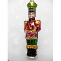 Handgemaakte kerstballen kerstversiering van glas - Drummer rood/groen/goud