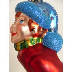 Schlittschuhläufer - handgefertigte Weihnachtsschmuck aus Glas Weihnachtskugel rot/blau
