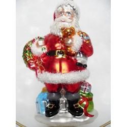red santa Santa claus glass handmade Christmas bauble decoration tree ornament