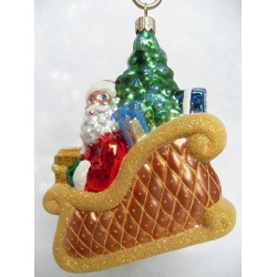 golden sled handmade Christmas bauble decoration tree ornament red santa claus in sleigh bauble gold/green