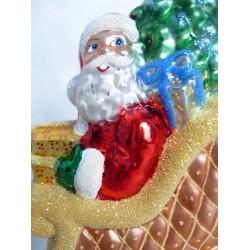 Goldenen Schlitten - handgefertigte Weihnachtsschmuck aus Glas