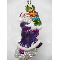 Lila Weihnachtsmann - handgefertigte Weihnachtsschmuck aus Glas Christbaumkugel