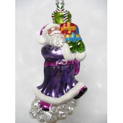 luxury purple santa claus handmade Christmas bauble decoration tree ornament