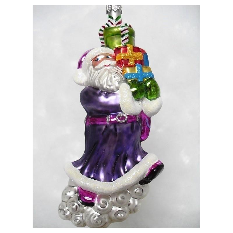 Père Noël pourpre boule de Noël en verre, fait main