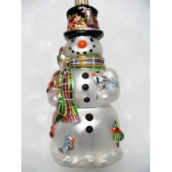 luxury snowman's black hat glass handmade Christmas bauble decoration tree ornament white