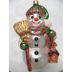 snowman green glass handmade Christmas bauble decoration tree ornament white/black/green