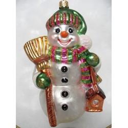 snowman green glass handmade Christmas bauble decoration tree ornament white/black/green