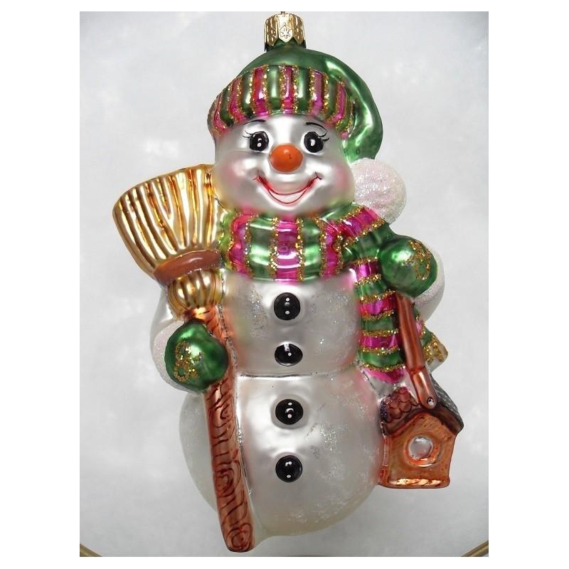 Gruner Schneemann - handgefertigte Weihnachtsschmuck aus Glas Weihnachtskugel weiß/schwarz/grün
