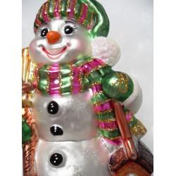 Gruner Schneemann - handgefertigte Weihnachtsschmuck aus Glas
