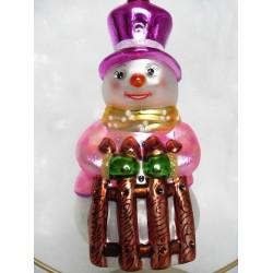 Rosa Schneemann - handgefertigte Weihnachtsschmuck aus Glas Wihnachtskugel