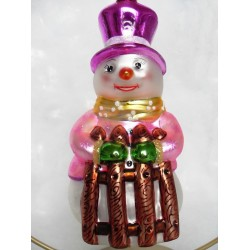 snowman pink glass handmade Christmas bauble decoration tree ornament