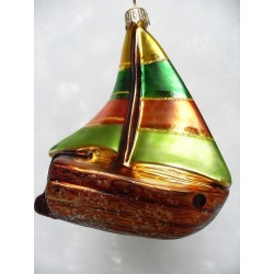 color boat glass handmade Christmas ornament bauble tree decoration sailboat yach brown/green/gold
