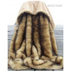 plaid van nerts imitatiebont, nepbont deken bruin karamel beige