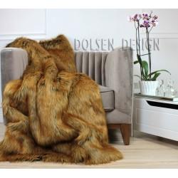 plaid couverture en fausse fourrure renard roux 150x180cm dolsen design. Black Bedroom Furniture Sets. Home Design Ideas