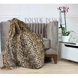 Leopard faux fur throw blanket on the chair