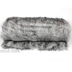 koc ze sztucznego futra srebrnego lisa kolor srebrny / szary