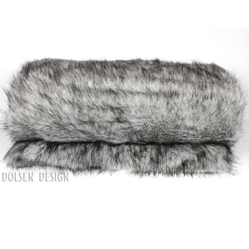 silver fox faux fur throw blanket  color silver / gray
