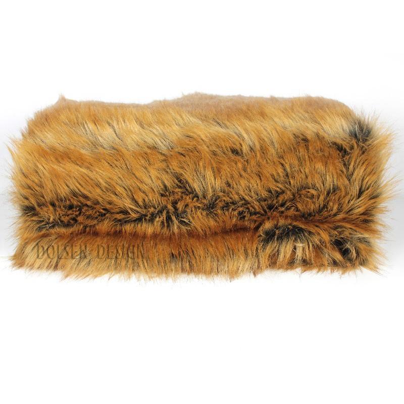 Narzuta koc pled ze sztucznego futra rudego lisa