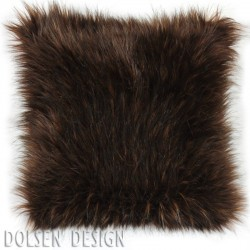 eurasian brown bear faux fur cushion case 40x40cm