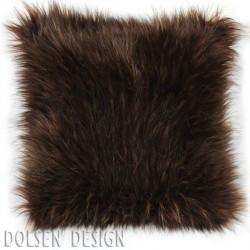 housse de coussin en fausse fourrure d'ours brun 40x40cm