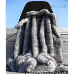 Felldecke Fellimitat Decke Webpelzdecke Silberfuchs Farbe - grau Kunstfelldecke