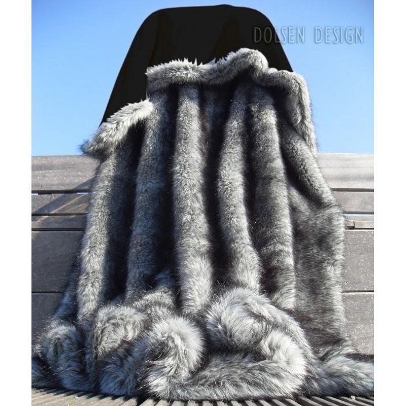 silver fox faux fur throw blanket by dolsen design. Black Bedroom Furniture Sets. Home Design Ideas
