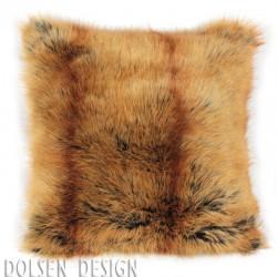 housse de coussin en fausse fourrure renard roux 50x50cm
