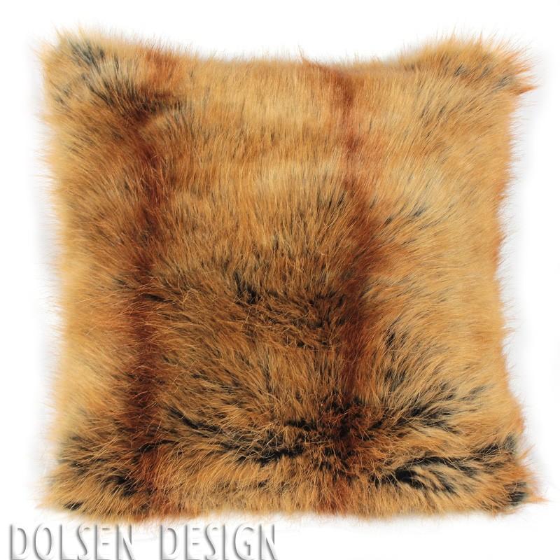red fox faux fur cushion case 50x50cm