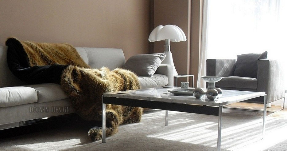 faux fur throw blanket on sofa
